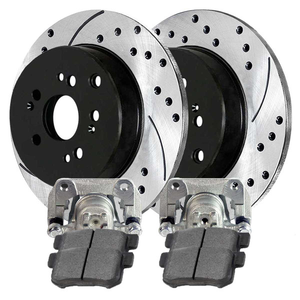 Rear Disc Brake Caliper Performance Brake Pad and Performance Drilled and Slotted Rotor Bundle - Part # BCPKG00216