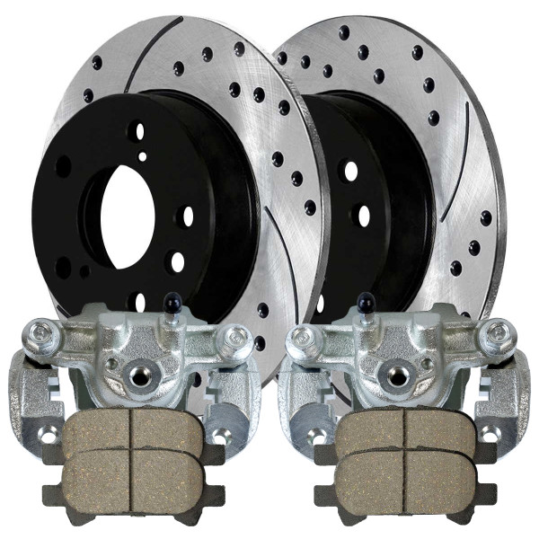 Rear Disc Brake Caliper Ceramic Brake Pad and Performance Drilled and Slotted Rotor Bundle 4 Wheel Disc - Part # BCPKG00222