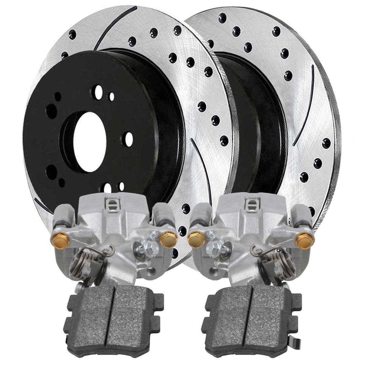 Auto Shack PR41481DSZLR-BC30298 Rear Disc Brake Caliper and Performance Rotor Bundle Silver