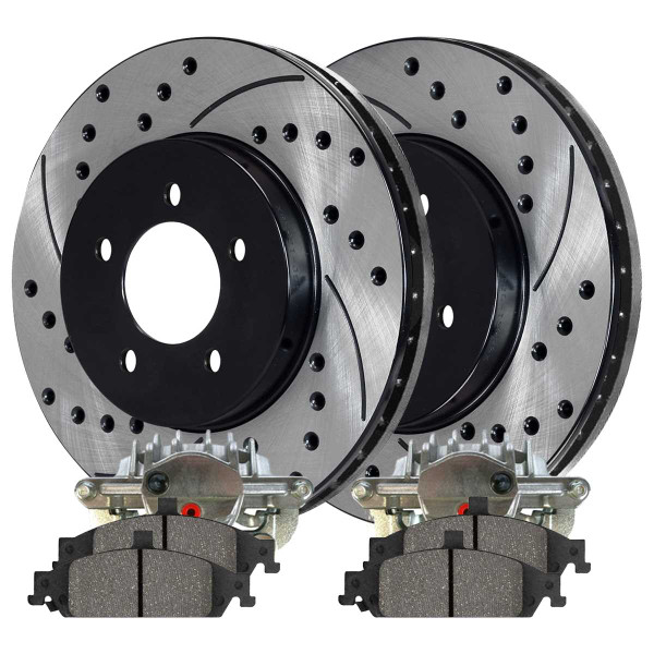 Front Disc Brake Caliper Semi Metallic Brake Pad and Performance Rotor Bundle 10.94 Inch Rotor Diameter 1 Piston Caliper Metal Piston - Part # BCPKG00659