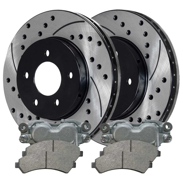 Front Disc Brake Caliper Semi Metallic Brake Pad and Performance Rotor Bundle 2 Piston Caliper - Part # BCPKG00674