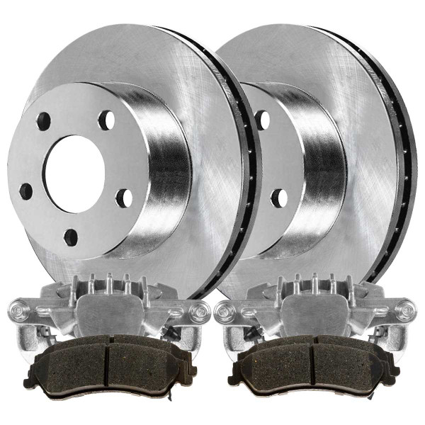 Rear Disc Brake Caliper Semi Metallic Brake Pad and Rotor Bundle 4 Wheel Disc 3 3/4 Inch Overall Rotor Height Phenolic Piston Caliper - Part # BCPKG00681