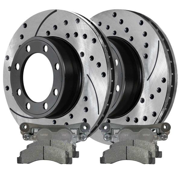 Front Disc Brake Caliper Semi Metallic Brake Pad and Performance Drilled and Slotted Rotor Bundle 4WD 13.03 Inch Rotor Diameter 2 Piston Caliper - Part # BCPKG00686