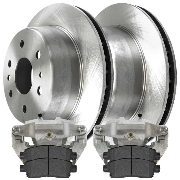 Rear Disc Brake Caliper Semi Metallic Brake Pad and Rotor Bundle 1 Piston Caliper - Part # BCPKG00759