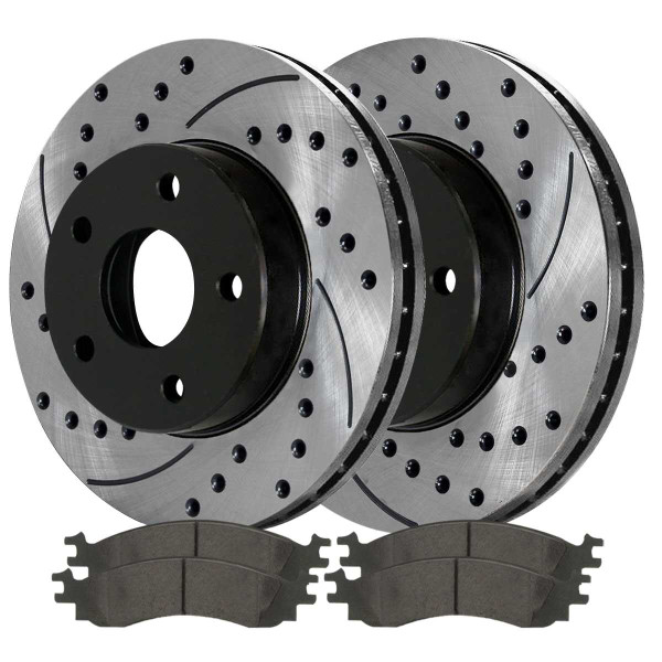 Front and Rear Ceramic Brake Pad and Performance Rotor Bundle - Part # BRAKEPKG042