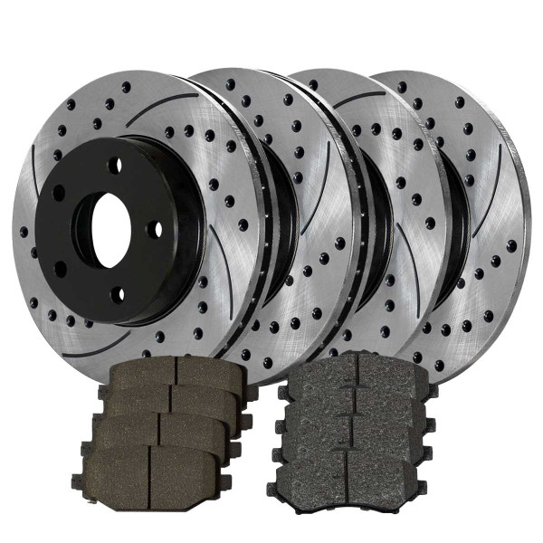 Front and Rear Ceramic Brake Pad and Performance Rotor Bundle 11.89 Inch Front Rotor Diameter 12 Inch Rear Rotor Diameter - Part # BRAKEPKG047