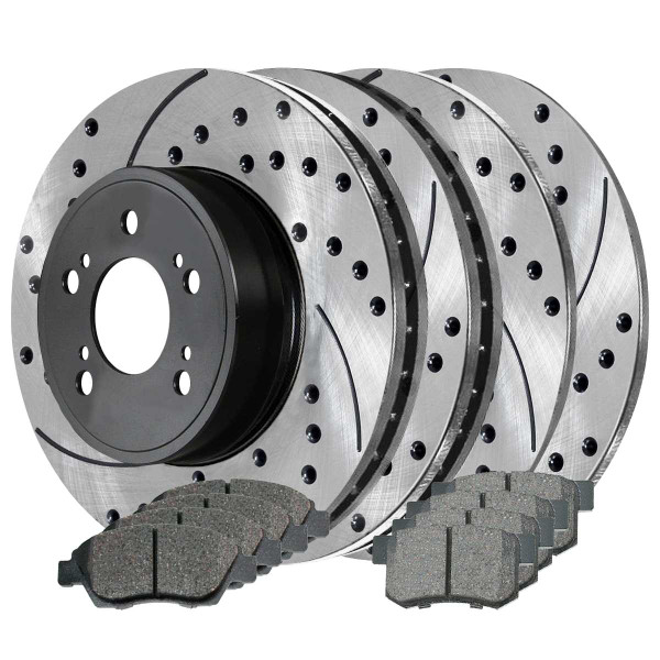 Front and Rear Ceramic Brake Pad and Performance Rotor Bundle - Part # BRAKEPKG098
