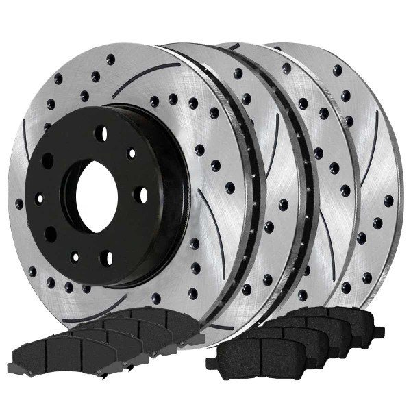 Front and Rear Ceramic Brake Pad and Performance Drilled and Slotted Rotor Bundle Police Package - Part # BRAKEPKG1014