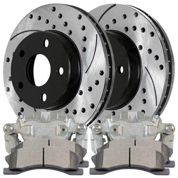 [Front Set] Pair of Performance Brake Rotors, Calipers and a Set of Ceramic Brake Pads - Part # BRAKEPKG1016