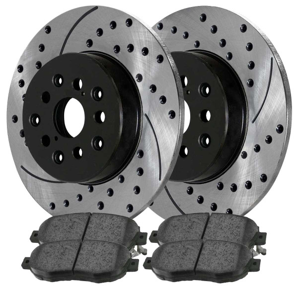 Front and Rear Ceramic Brake Pad and Performance Rotor Bundle - Part # BRAKEPKG105
