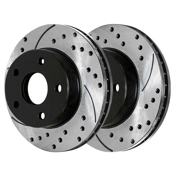 Front and Rear Performance Brake Pad and Performance Drilled and Slotted Rotor Bundle 10.86 Inch Front Rotor Diameter - Part # BRAKEPKG1093
