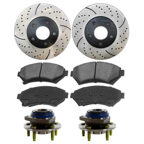 Complete Set of Performance Drilled and Slotted Brake Rotors, Performance Ceramic Brake Pads and Hu - Part # BRAKEPKG1179