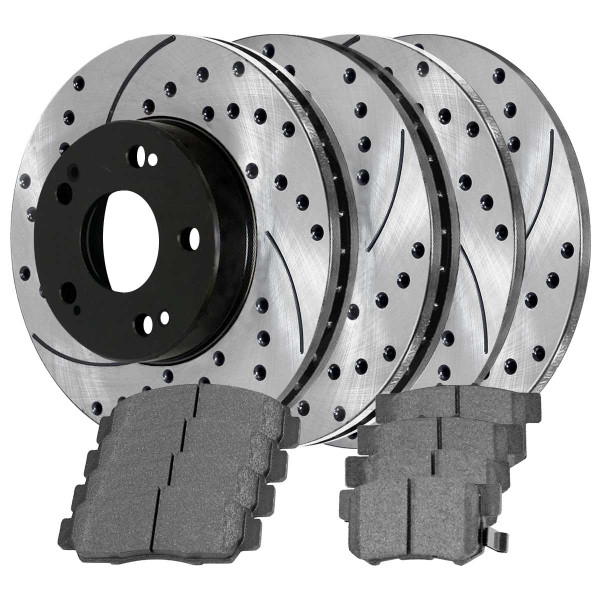 Front and Rear Ceramic Brake Pad and Performance Rotor Bundle 11.8 Inch Front Rotor Diameter - Part # BRAKEPKG197