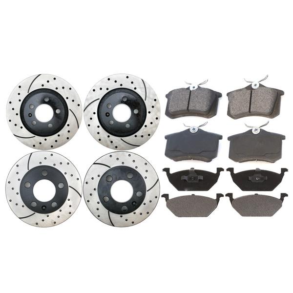 [Front & Rear Set] 4 Drilled & Slotted Performance Brake Rotors & 2 Sets Ceramic Brake Pads - Part # BRAKEPKG304