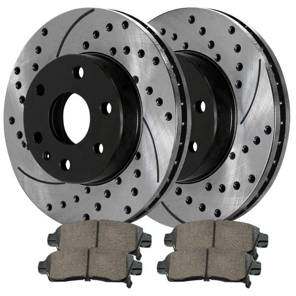 Front and Rear Ceramic Brake Pad and Performance Rotor Bundle - Part # BRAKEPKG351