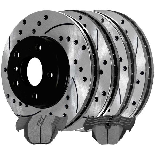 Front and Rear Ceramic Brake Pad and Performance Rotor Bundle - Part # BRAKEPKG358