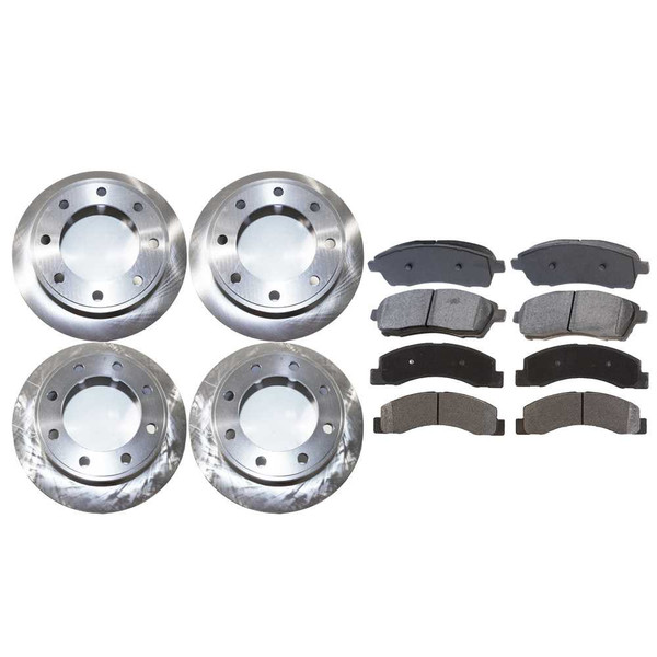 [Front & Rear Set] 4 Brake Rotors & 2 Sets Semi Metallic Brake Pads - Part # BRAKEPKG371
