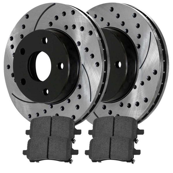 Front and Rear Ceramic Brake Pad and Performance Rotor Bundle - Part # BRAKEPKG410