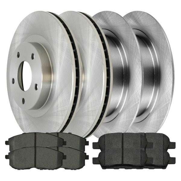 [Front & Rear Set] 4 Brake Rotors & 2 Sets Semi Metallic Brake Pads - Part # BRAKEPKG421