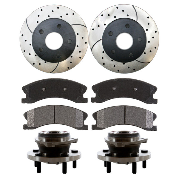 Front Set of Hub Bearings, Perfromanace Rotors & Pads - Part # BRAKEPKG443