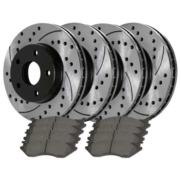 [Front & Rear Set] 4 Drilled & Slotted Performance Brake Rotors & 2 Sets Ceramic Brake Pads - Part # BRAKEPKG570