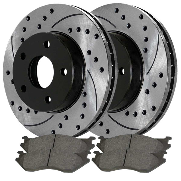 Front and Rear Ceramic Brake Pad and Performance Rotor Bundle - Part # BRAKEPKG570