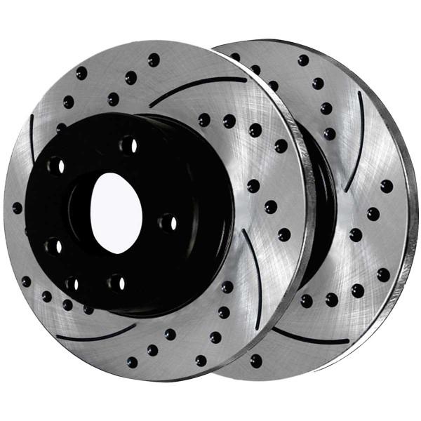 Front and Rear Ceramic Brake Pad and Performance Rotor Bundle - Part # BRAKEPKG702