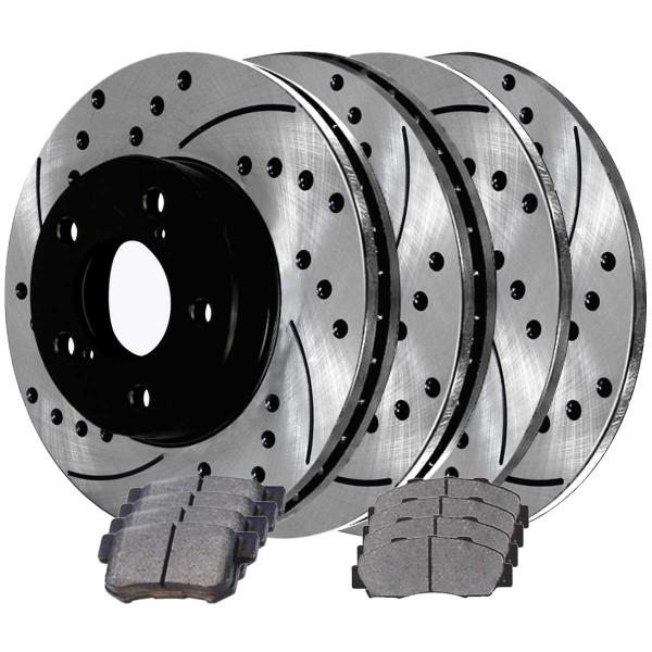 Front and Rear Semi Metallic Brake Pad and Performance Rotor Bundle - Part # BRAKEPKG718