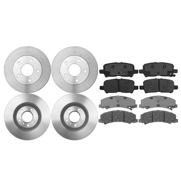[Front & Rear Set] 4 Brake Rotors & 2 Sets Semi Metallic Brake Pads - Part # BRAKEPKG996