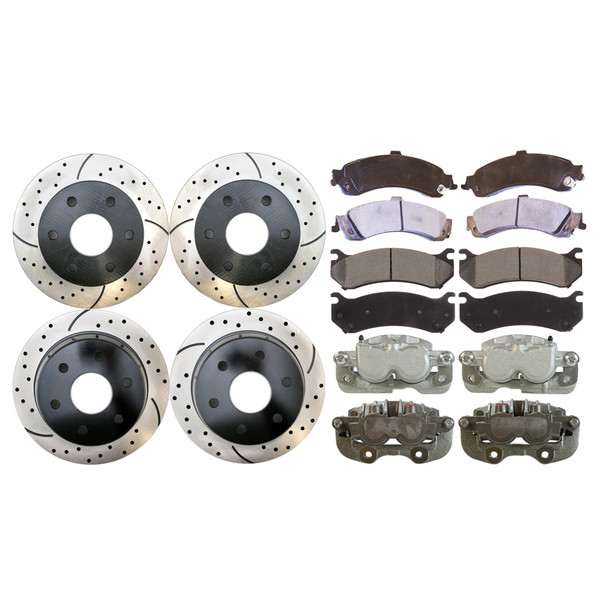 4 Brake Calipers 8 Ceramic Brake Pads 4 Performance Rotors - Not Rebuilt -No Core - Part # BRAKEPPK00232