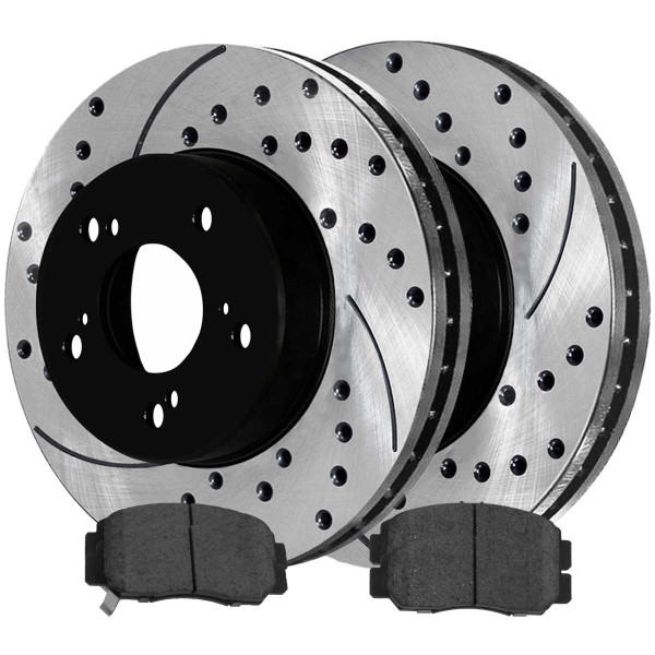 Front Ceramic Brake Pad and Performance Rotor Bundle - Part # BRAKEPPK00259