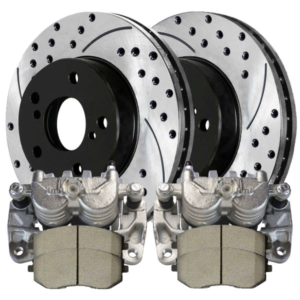 Front Set of Brake Calipers Performance Rotors & Brake Pads - Part # BRAKEPPK00264