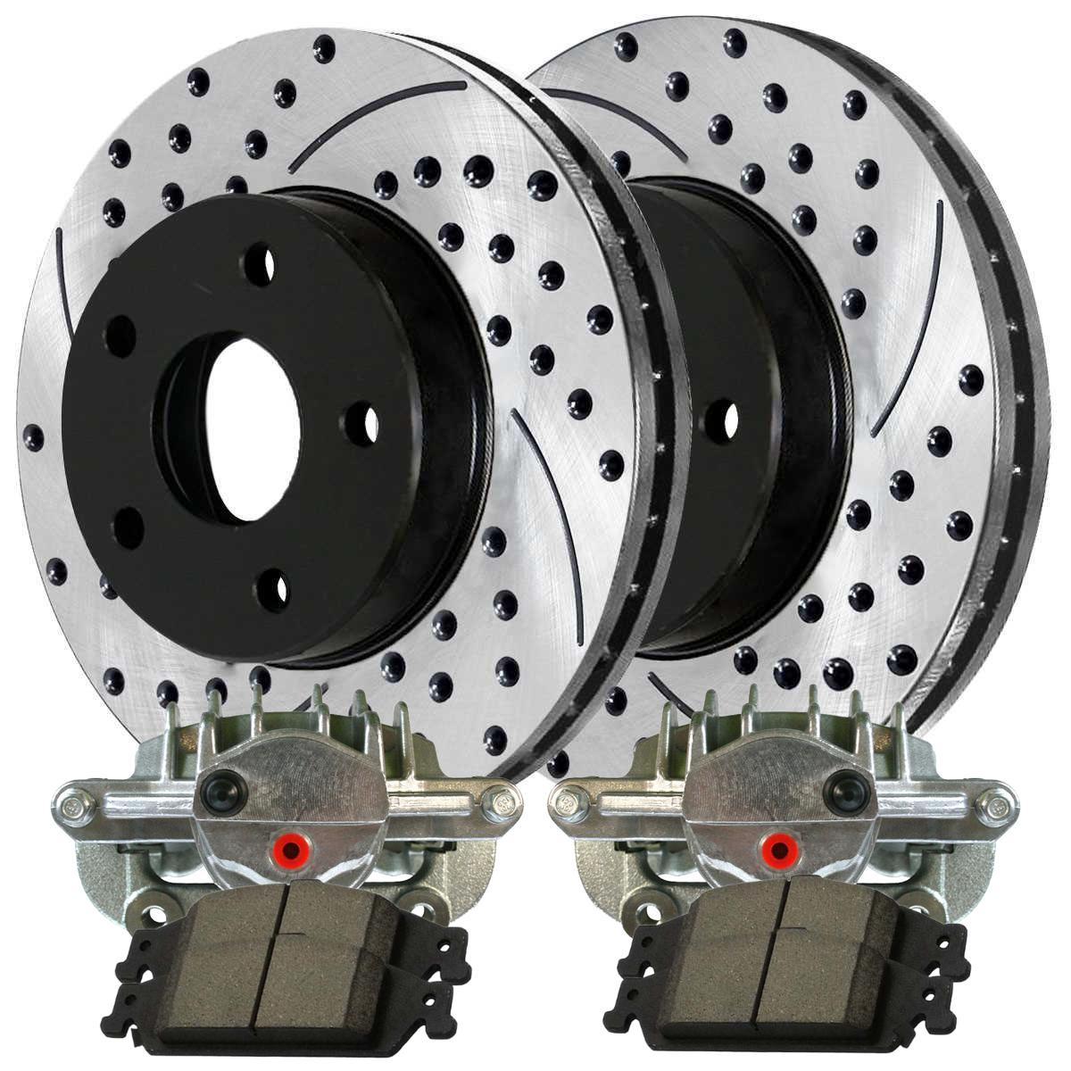 Prime Choice Auto Parts SRBRPKG00084 Front Performance Silver Rotors Calipers and Metallic pads Set
