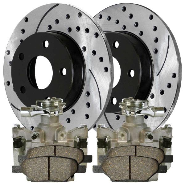 Rear Disc Brake Caliper Performance Brake Pad and Performance Rotor Bundle 4 Wheel Disc Metal Piston - Part # BRAKEPPK00268