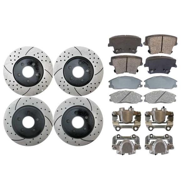 4 Brake Calipers 8 Ceramic Brake Pads 4 Performance Rotors - Not Rebuilt -No Core - Part # BRKPKG0021