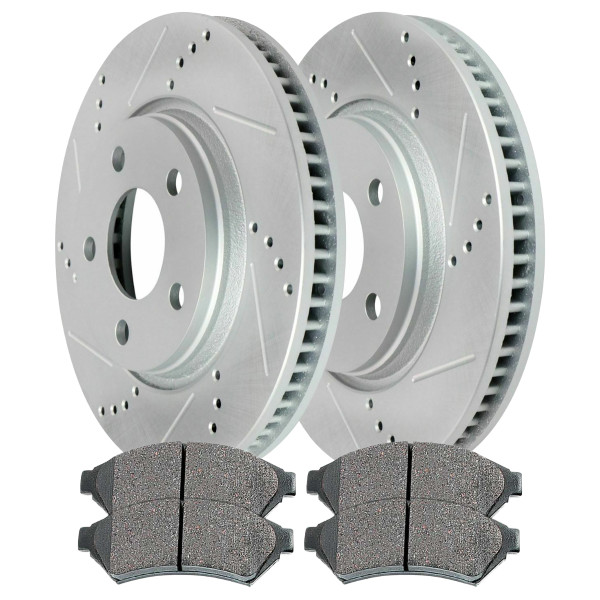 [Front set] 3 Pieces - 1 Performance Ceramic Brake Pads 2 Silver Performance Brake Rotors - Part # BRKPKG002202