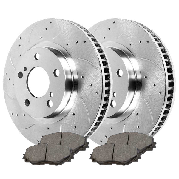 Front Performance Ceramic Brake Pad and Performance Drilled and Slotted Rotor Bundle - Part # BRKPKG002237