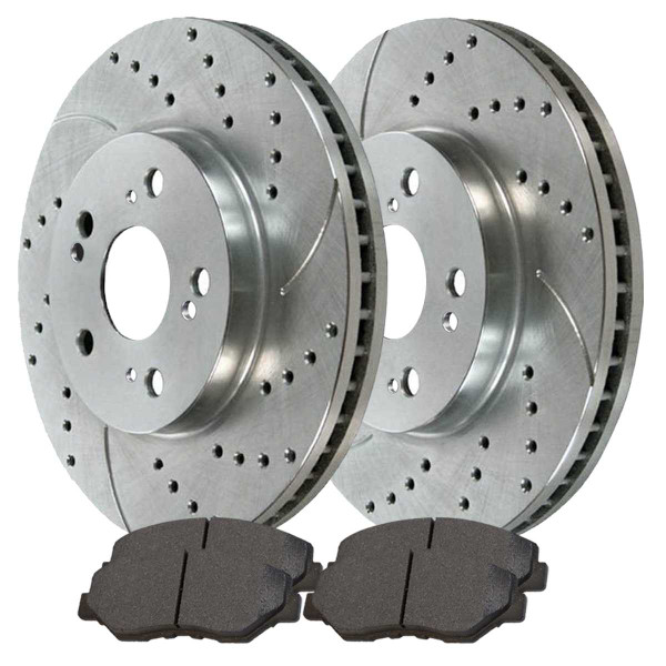 Front Performance Ceramic Brake Pad and Performance Drilled and Slotted Rotor Bundle - Part # BRKPKG002244
