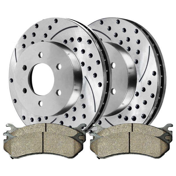 Front Performance Ceramic Brake Pad and Performance Drilled and Slotted Rotor Bundle 6 Stud - Part # BRKPKG002266