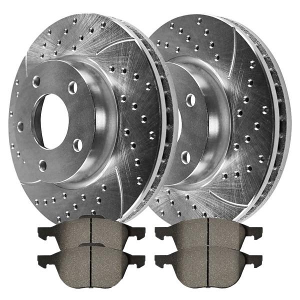[Front set] 3 Pieces - 1 Performance Ceramic Brake Pads 2 Silver Performance Brake Rotors - Part # BRKPKG002292