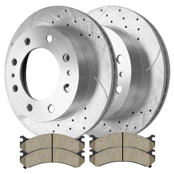 Front Performance Ceramic Brake Pad and Performance Rotor Bundle 8 Stud - Part # BRKPKG002341
