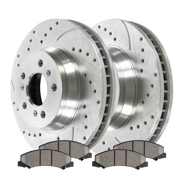 Front Performance Ceramic Brake Pad and Performance Drilled and Slotted Rotor Bundle - Part # BRKPKG002349
