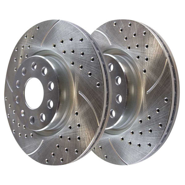 Front Disc Brake Rotors Silver and Performance Ceramic Pads Kit, Driver and Passenger Side - Part # BRKPKG002433
