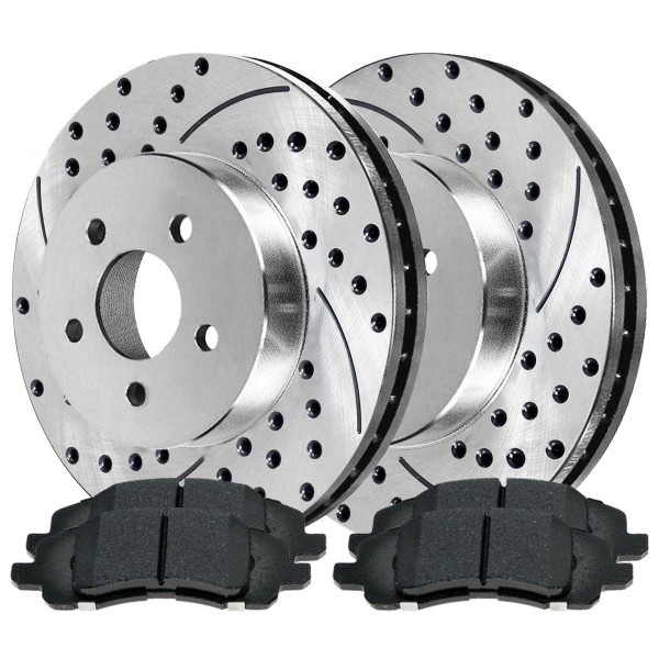 Front Performance Ceramic Brake Pad and Performance Drilled and Slotted Rotor Bundle 11.57 Inch Rotor Diameter - Part # BRKPKG002439