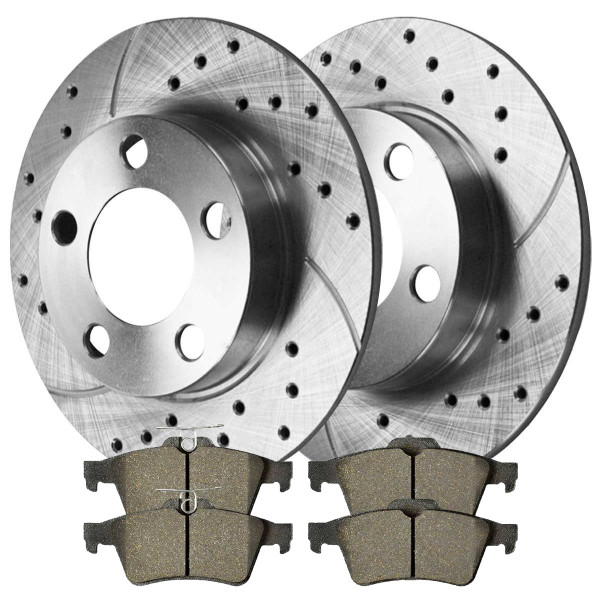 [Rear set] 3 Pieces - 1 Performance Ceramic Brake Pads 2 Silver Performance Brake Rotors - Part # BRKPKG002676