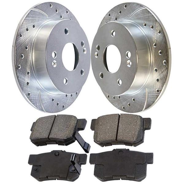 [Rear set] 3 Pieces - 1 Performance Ceramic Brake Pads 2 Silver Performance Brake Rotors - Part # BRKPKG002749
