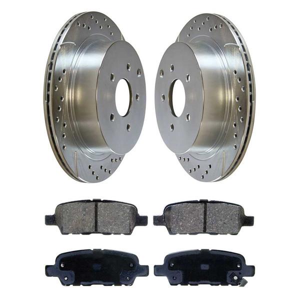 [Rear] - Drilled&Slotted Rotors w/Ceramic Pads Set - Part # BRKPKG002757