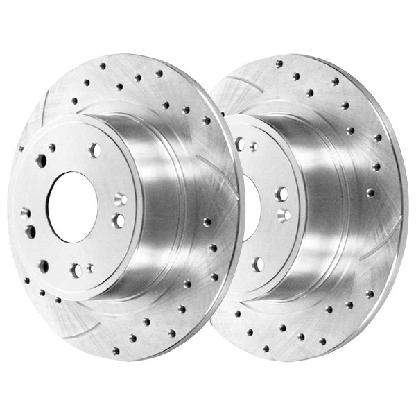 Rear Performance Ceramic Brake Pad and Performance Drilled and Slotted Rotor Bundle - Part # BRKPKG002761