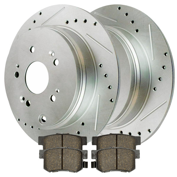 [Rear set] 3 Pieces - 1 Ceramic Brake Pad 2 Silver Drilled And Slotted Performance Brake Rotors - Part # BRKPKG002762