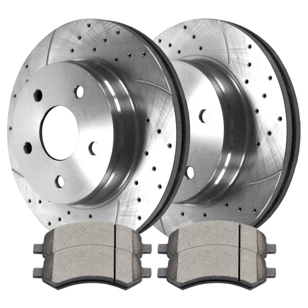 Front Disc Brake Rotors Silver and Performance Ceramic Pads Kit, Driver and Passenger Side - Part # BRKPKG002902